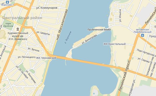 Чернавский мост Воронеж - карта