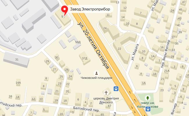 Завод Электроприбор на карте Воронежа