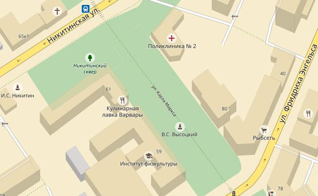 Памятник Высоцкому в Воронеже, карта