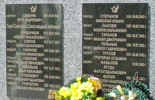 Мемориальные доски на братской могиле