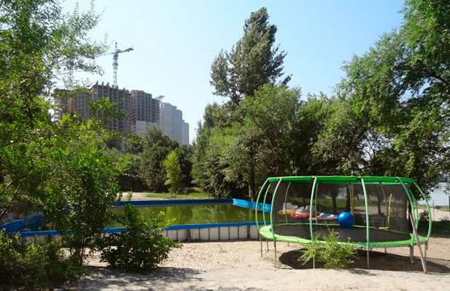Детская зона в парке: батут и бассейн