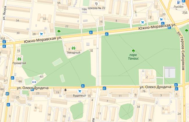 Парк Танаис на карте Воронежа