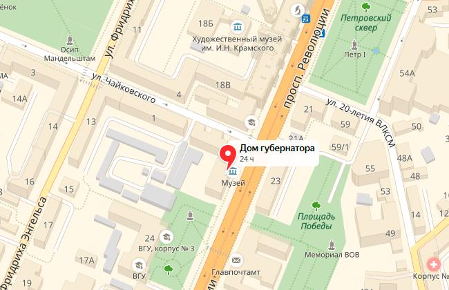 Дом губернатора (Воронеж), карта