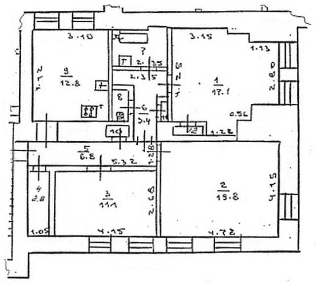 "План квартиры в доме ""Гармошке"""