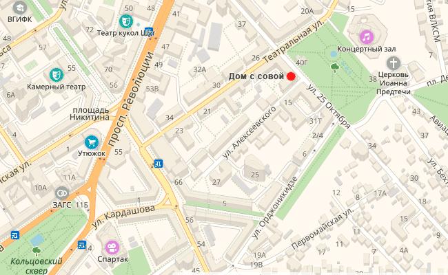 Дом с совой (дом Замятнина) на карте Воронежа