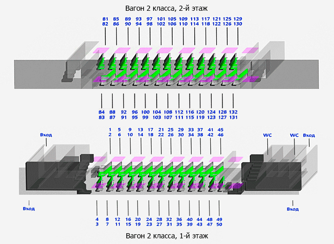 Расположение мест в вагонах нумерация и схемы